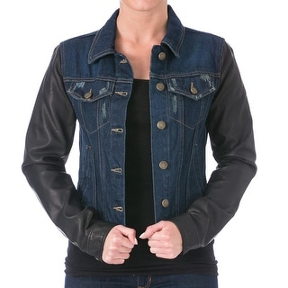 Laundry by Shelli Segal Womens Faux Leather Long Sleeves Denim Jacket