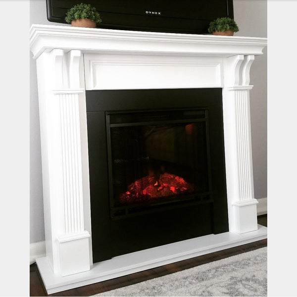 Real Flame Ashley White 48.03 in. L x 13.78 in. W x 41.25 in. H ...