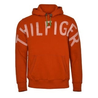 Tommy Hilfiger Hoodie Fleece Sweatshirt Small S Potters Clay Orange