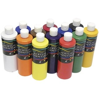 Chroma Acrylic Essential Set, 1 pt Bottle, Assorted Vibrant Colors, Set of 12