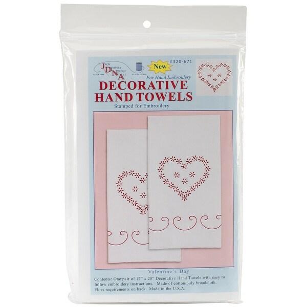 "Stamped White Decorative Hand Towel Pair 17""X28""-Valentine's Day"