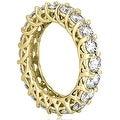 14K Yellow Gold 4.50 cttw. Round Diamond Eternity Ring HI,SI1-2 - Thumbnail 2