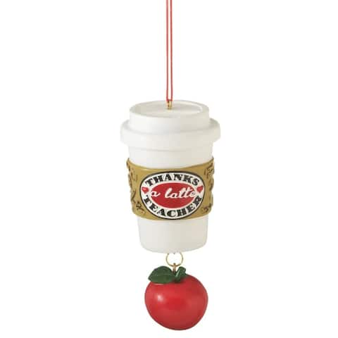 "4"" White and Red 'Thanks a Latte Teacher' Coffee Cup Hanging Apple Christmas Ornament"