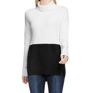 Two By Vince Camuto NEW Black Womens XL Turtleneck Ccolorblock Sweater