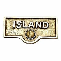 Switch Plate Tags ISLAND Name Signs Labels Lacquered Brass | Renovator's Supply