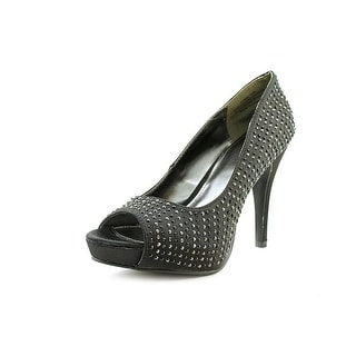 Rampage Gimme Women  Peep-Toe Canvas Black Heels