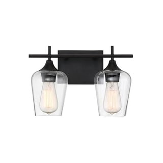 """Savoy House 8-4030-2 Octave 2 Light 13-3/4"""" Wide Bathroom Vanity Light with Clear Glass Shades"""
