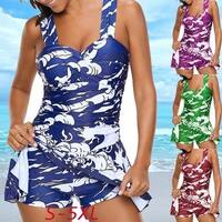 Women's Fashion Plus Size Sexy Wide Strap Ruched Ptint Swimdress and Shorts Swimsuit Tankinis Skirts