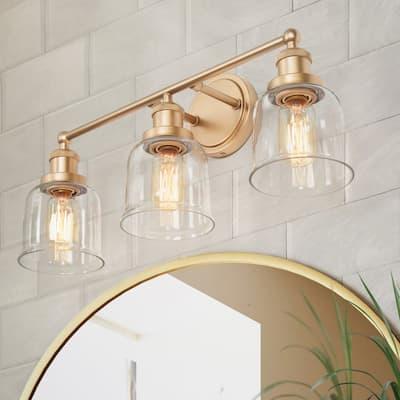 "Modern Gold 3-light Vanity Lights Bathroom Bell Wall Sconces for Power Room - L21.5""x W7.5""x H 10"""