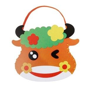 Child Cartoon Cattle Head Shape Craft Foam Bag DIY Hands Bag Educational Toy