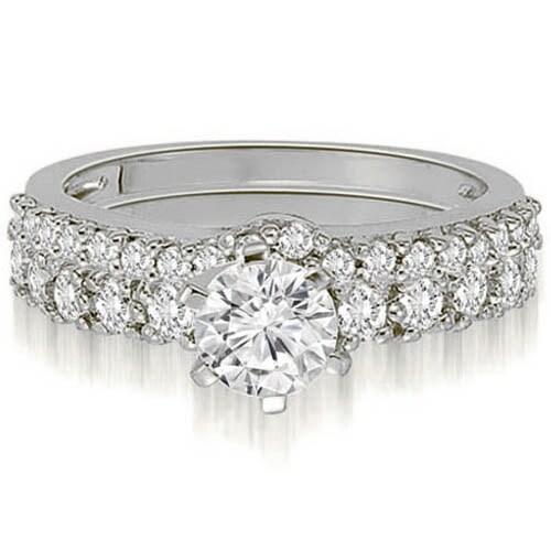 1.90 cttw. 14K White Gold Classic Basket Round Cut Diamond Bridal Set