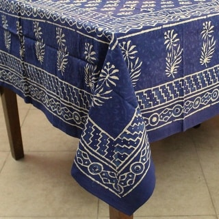 Dabu Floral Hand Block Print Cotton Tablecloth Rectangular Kitchen Table Linen Blue Green Red - 60 x 90 inches