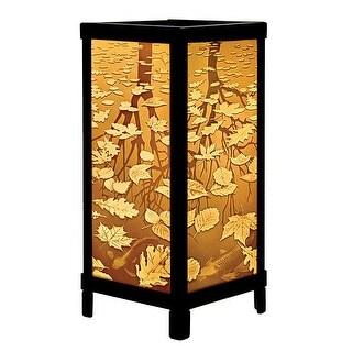 The Porcelain Garden Fall Leaves & Trees Luminaire Lithophane - Lantern Style Accent Lamp Light - brown - MEDIUM