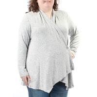 Womens Gray Long Sleeve Open Sweater  Size  2X