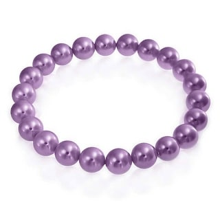 Bling Jewelry Round Purple Imitation Pearl Stretch Bracelet 8mm