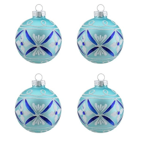 """4ct Matte Teal Green with White & Blue Floral Design Glass Ball Christmas Ornaments 2.5"""" (65mm)"""