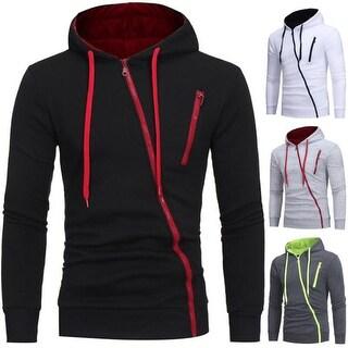 Men's Casual Long Sleeve Hoodie Slim Fit Slant Zipper Sweatershirt Sports Top