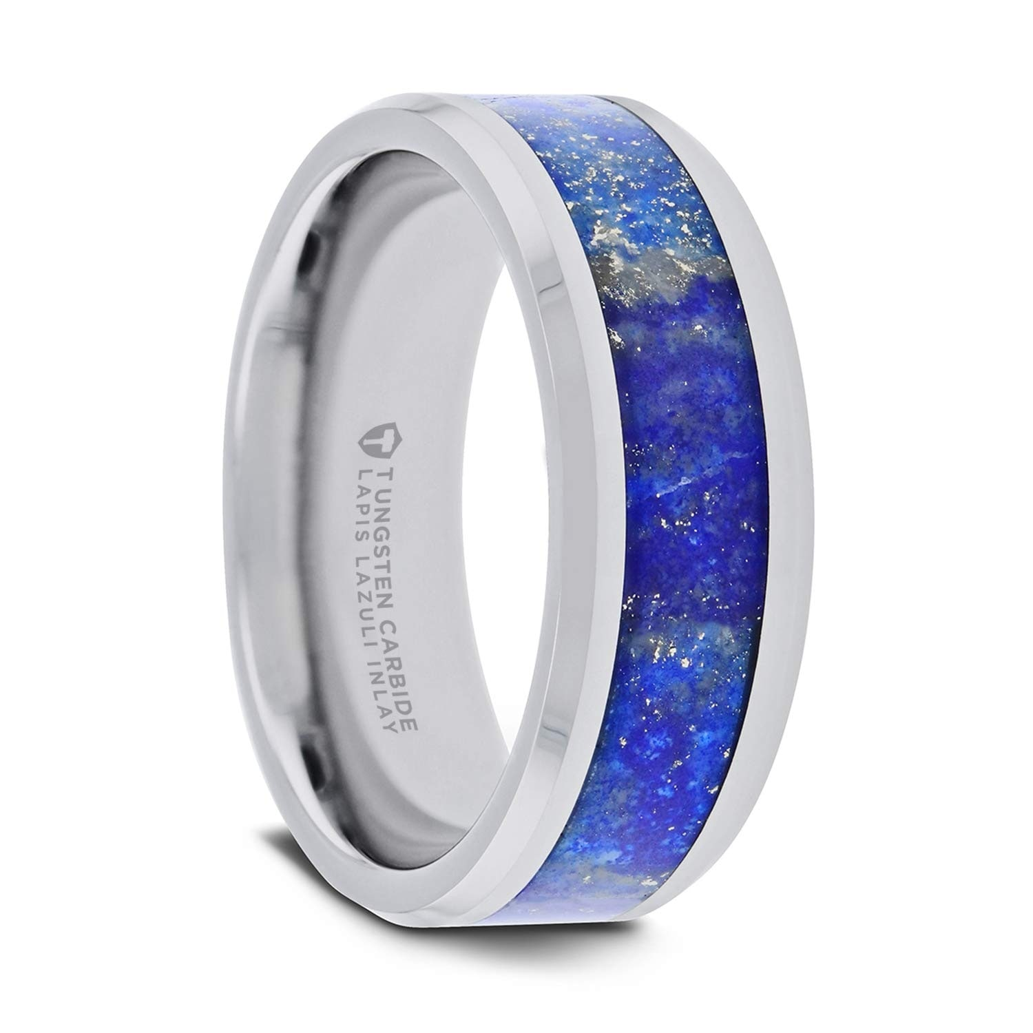Tungsten Wedding Rings.Thorsten Osias Tungsten Rings For Men Tungsten Wedding Ring Band With Blue Lapis Inlay And Polished Beveled Edges 8mm