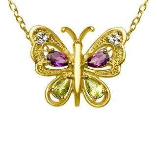 1 5/8 ct Natural Amethyst and Natural Peridot Butterfly Pendant in 18K Gold Plate - Multi-Color