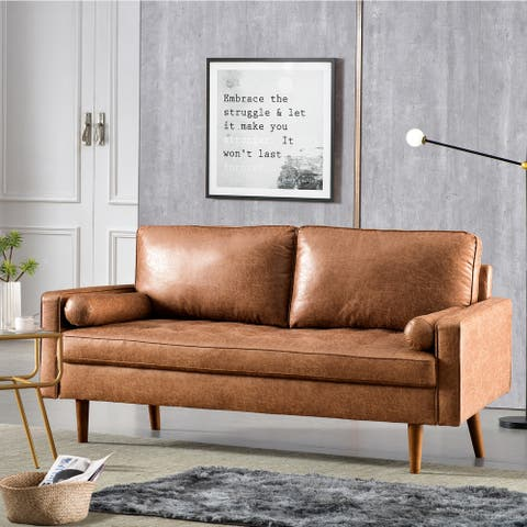 VIATOL Mid-Century Top-Grain Leather Deep Seat Sofa With Cushions Wood Legs