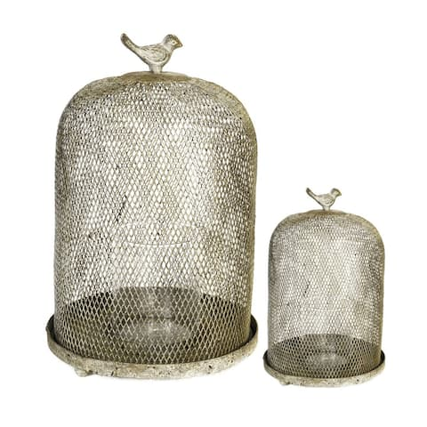 """Set of 2 Golden Sparrow Mesh Candle Holders 13"""""""