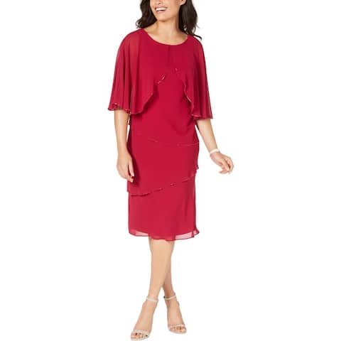 SLNY Womens Midi Dress Tiered Beaded - Raspberry