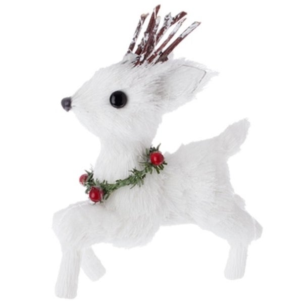"""5"""" Country Cabin White Running Deer with Holly Berry Collar Christmas Ornament"""
