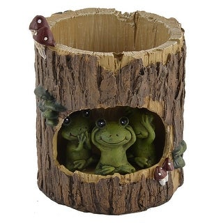 Home Resin Tree Hole Frog Shaped Aloes Cactus Plant Flower Pot Brown Green