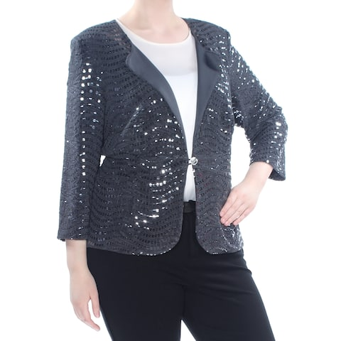 ALEX EVENINGS Womens Gray Sequined Chiffon Jacket Plus Size: 20W