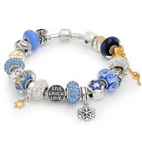 Blue Hanukkah Multi European Charms Bracelet For Grandmother Gift 925 Sterling Silver Barrel Clasp
