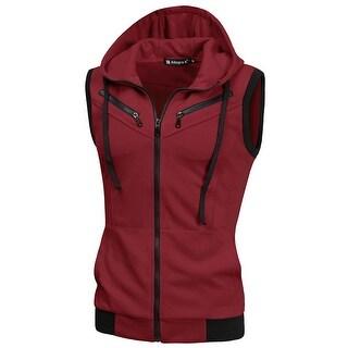 Link to Men Kangaroo Pocket Zip Up Drawstring Hooded Vest Similar Items in Loungewear