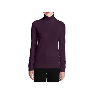 Calvin Klein Womens Turtleneck Sweater Knit Ribbed Trim