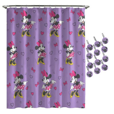 """Minnie Mouse Purple Love Shower Curtain and Hooks - 72""""x72"""""""