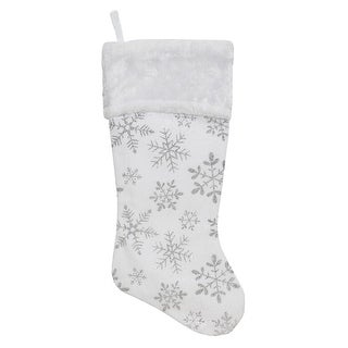 18.5 White Velvety Christmas Stocking with Glitter Snowflakes and Plush Cuff