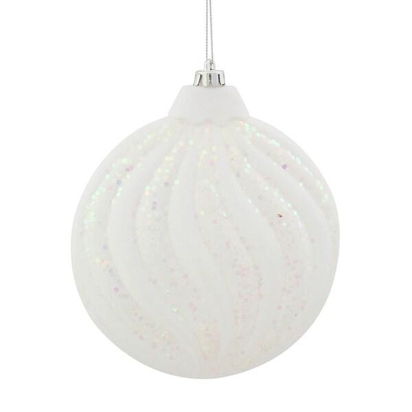 """Winter White Glitter Swirl Shatterproof Christmas Disc Ornament 6"""" (150mm)"""