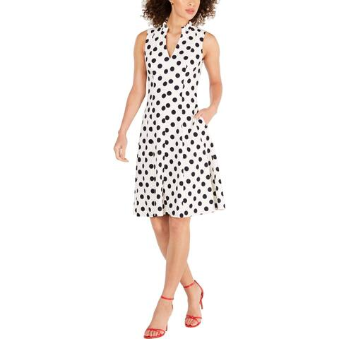 Jessica Howard Womens Petites Scuba Dress Polka Dot Ruffled - Ivory - 12P