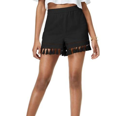 XOXO Women's Shorts Black Size XS Tassel-Trim Elastic-Waist Solid