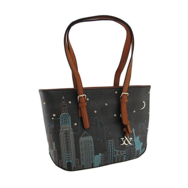 Colorful Cityscape Scene Textured Vinyl Handbag. Opens flyout.