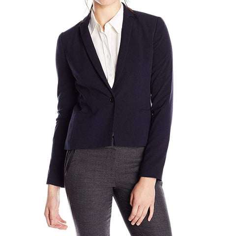 T Tahari Navy Blue Womens Size 16 One Button Notch Lapel Blazer