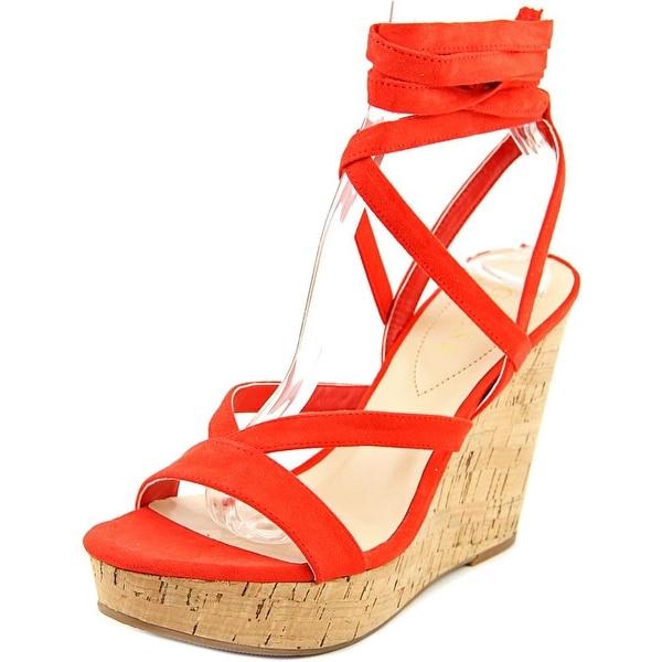 Guess Treacy Women Open Toe Canvas Red Wedge Sandal