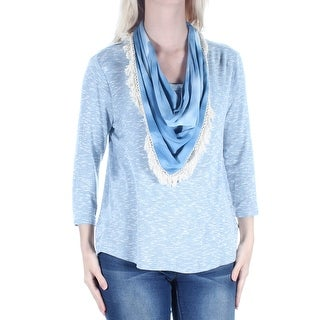 Womens Blue Long Sleeve Jewel Neck Sweater Size S