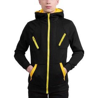Men's Hooded Sweatshirt Turtleneck Zip Up Color Block Jackets - Black Yellow
