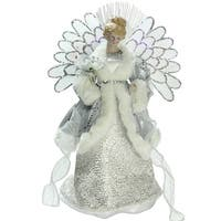 """13"""" Lighted B/O Fiber Optic Angel in Silver Gray Gown Christmas Tree Topper"""