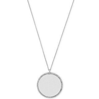 Macys Vince Camuto Silver-tone Round Glass Disc Pendant Necklace - Silver