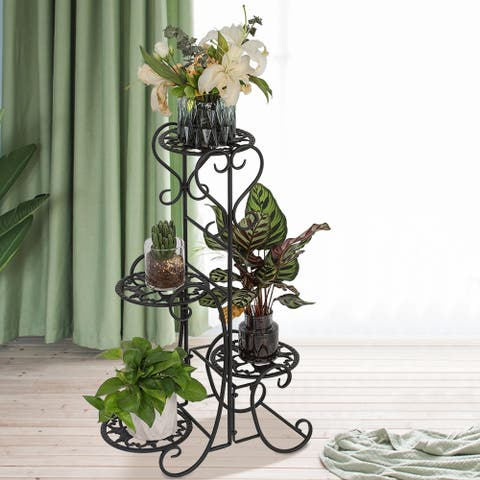 4 Potted Rounded Flower Metal Shelves Plant Pot Stand Decoration - 8' x 10'