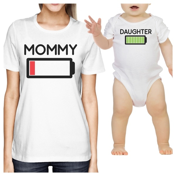 Mommy & Daughter Battery White Mom and Daughter Couple Shirt Gifts