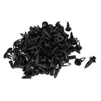 Unique Bargains 100pcs 10 x 8mm Hole Plastic Rivet Panel Bumper Clips Black