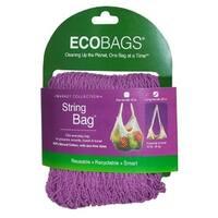 Eco-Bags Natural Cotton Long Handle String Bag, Raspberry, Raspberry