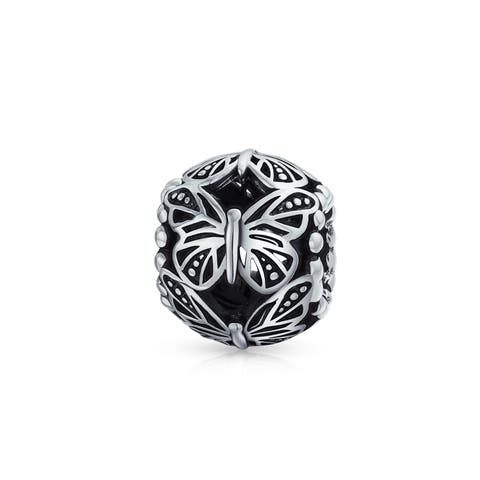 89c1d85bc Garden Insect Filigree Barrel Round Butterfly Charm Bead For Women For  Mother 925 Sterling Silver Fits