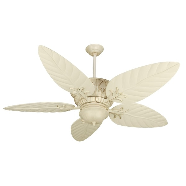 """Craftmade K10248 Pavilion 54"""" 5 Blade Indoor Ceiling Fan - Blades, Remote and Light Kit Included - antique white distressed"""